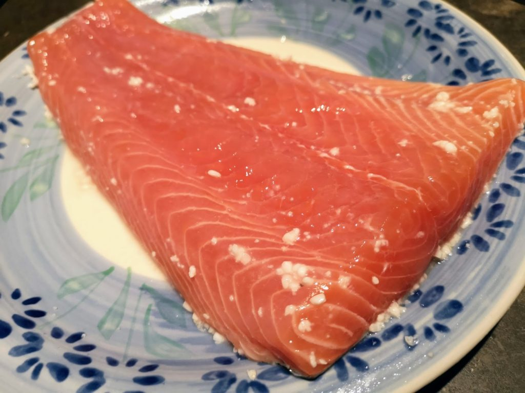 Sauteed Salmon marinated with Shio Koji , Remove the Shio Koji before cooking