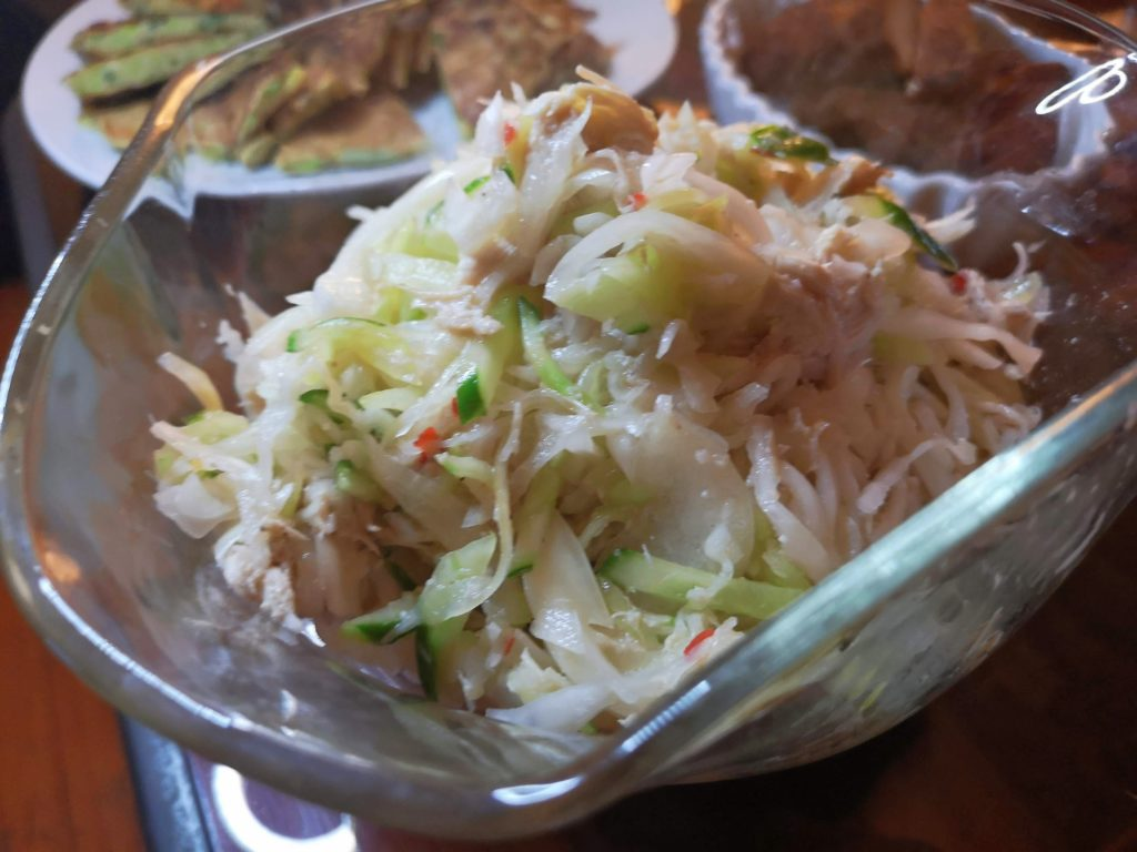 Cabbage and chicken salad with Shio Koji