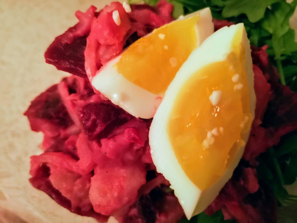 Picked Egg with Shio Koji on beets salad