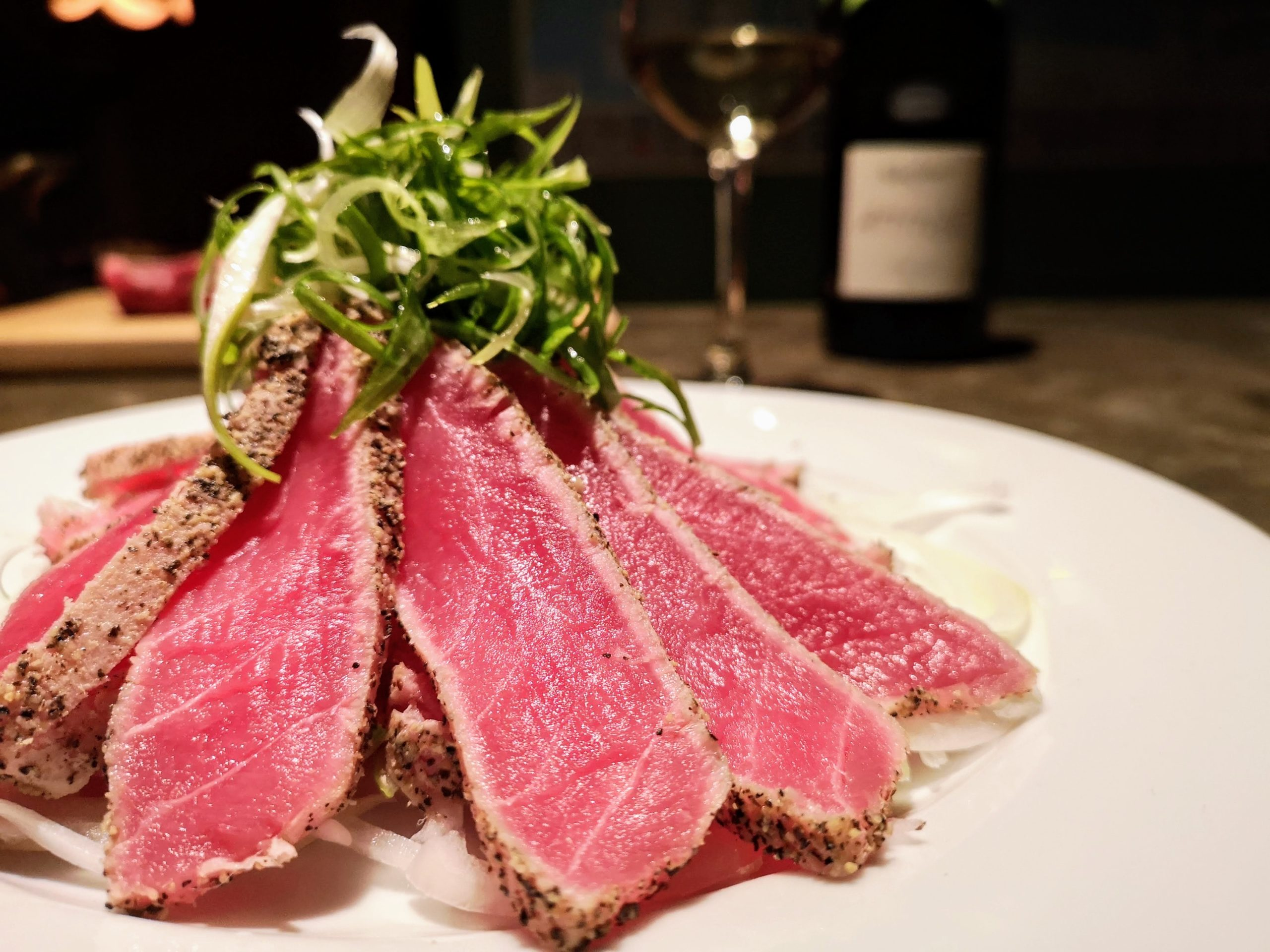 Seared Tuna Sashimi tossed with Angel Hair Green Onions
