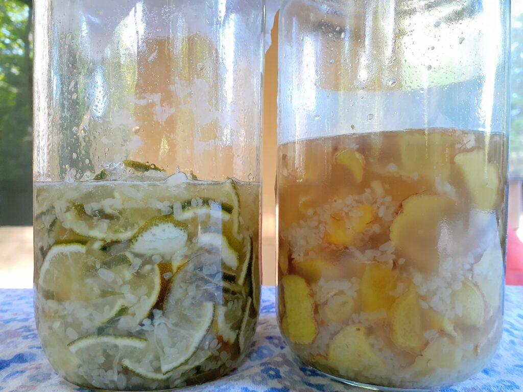 Ginger Syrup and Lime Syrup with Kome Kouji (Rice Malt/Rice Koji)